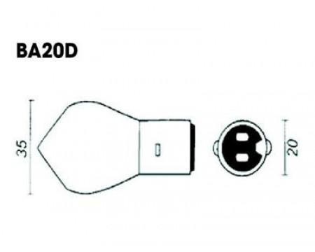 AMPOULE TYPE BA20D 12V