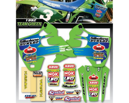 KIT DECO COMPLET ET HOUSSE DE SELLE TEAM GREEN REPLICA KAWASAKI 125 250 KX 1992