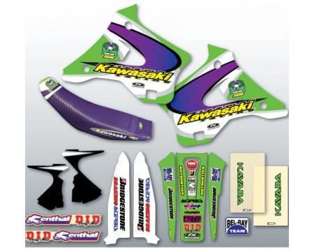 KIT DECO COMPLET ET HOUSSE DE SELLE TEAM US REPLICA KAWASAKI 125 250 KX DE 1994 à 1998