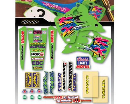 KIT DECO COMPLET ET HOUSSE DE SELLE TEAM US REPLICA KAWASAKI 125 250 KX 1992 1993